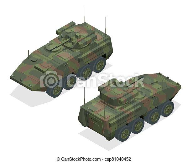armoured, unificado, militar, equipamento, transporte, veículos, armoured, portador, plataforma, pessoal, combate, projetado, zones., módulo, tipo, largo, torre, apc, bmp - csp81040452