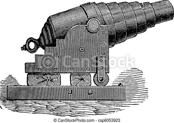 Armstrong cannon old engraving. - csp6053923