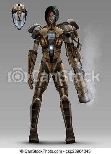 Armure Futuriste armure, femme, déguisement, futuriste. debout, casque, femme, armure