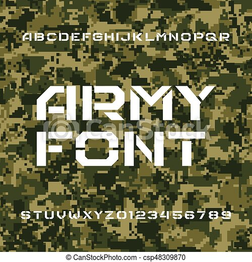 Army alphabet font  Stencil type letters and numbers on a seamless pixel  camo background