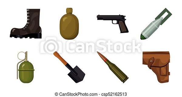Army and armament icons in set collection for design. Weapons and equipment vector symbol stock web illustration. - csp52162513