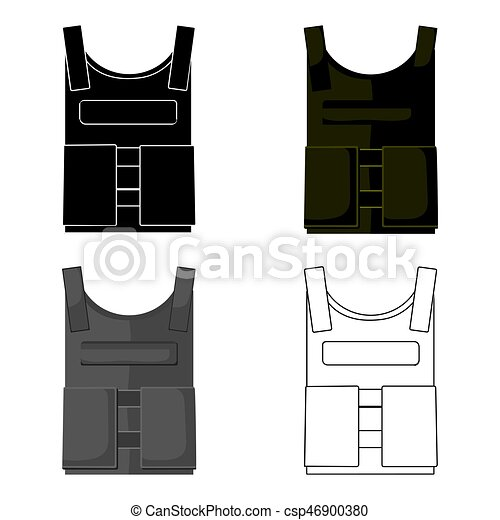 Army bulletproof vest icon in cartoon style isolated on white background.  Military and army symbol stock vector illustration