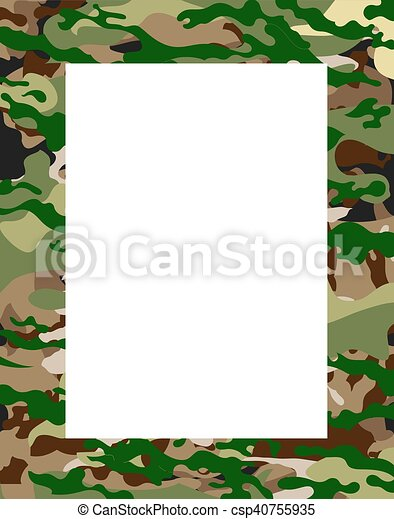 Army camouflage frame, vector art illustration texture.