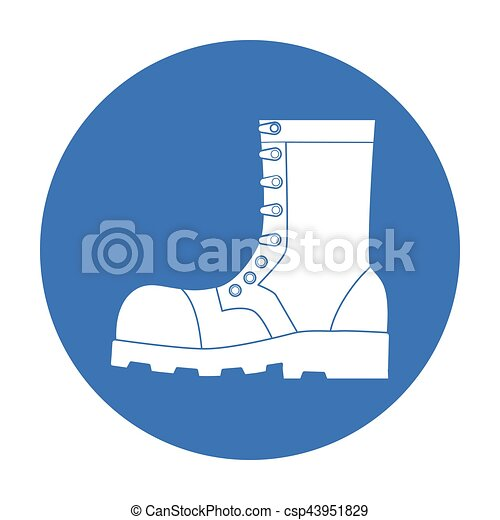 Army combat boots icon in black style isolated on white background   Military and army symbol stock vector illustration