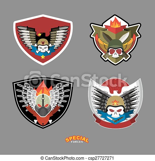 Army emblem set. Skull and guns. Vector illustration. - csp27727271