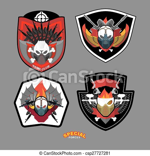 Army emblem set. Special forces patch with skull and guns. Vector illustration - csp27727281