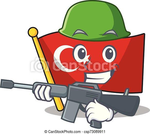 Army flag turkey character on shaped cartoon - csp73089911