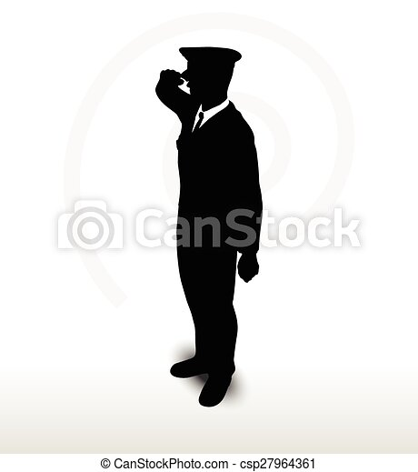 army general silhouette with hand gesture saluting - csp27964361