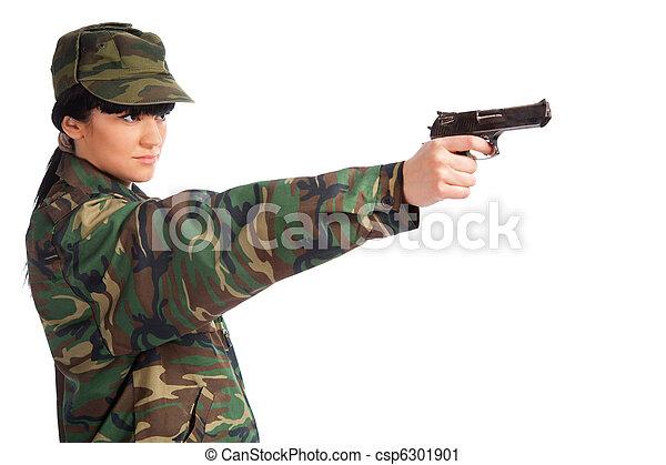 army girl holding gun - csp6301901