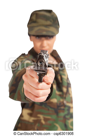 army girl holding gun - csp6301908