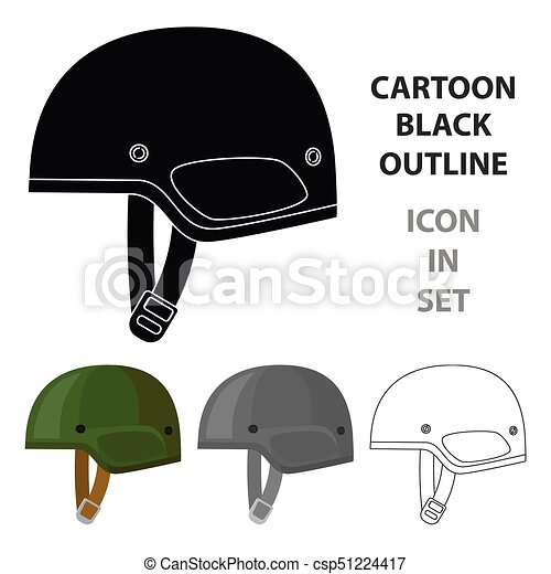 Army helmet icon in cartoon style isolated on white background. Military and army symbol stock vector illustration - csp51224417