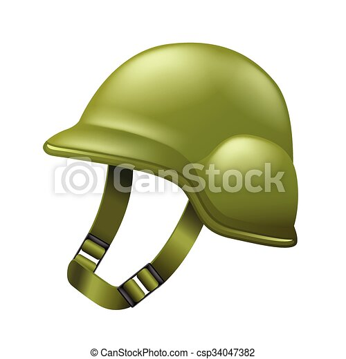 Army helmet isolated on white vector - csp34047382