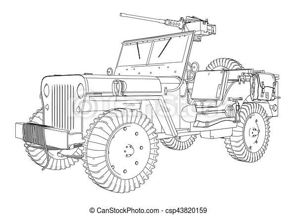 Army Jeep Vector - csp43820159