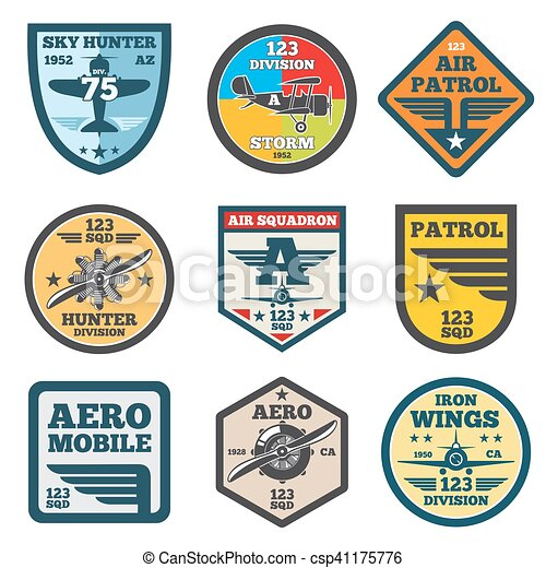 Army Jet Aviation Air Force Vector Labels Patch Badges Emblems And Logos Set