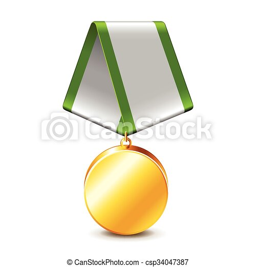 Army medal isolated on white vector - csp34047387