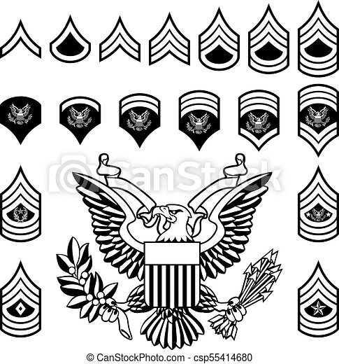 Army Military Rank Insignia Set Of Military American Enlisted Army