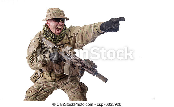 Army military soldier screaming, pointing attack direction - csp76035928