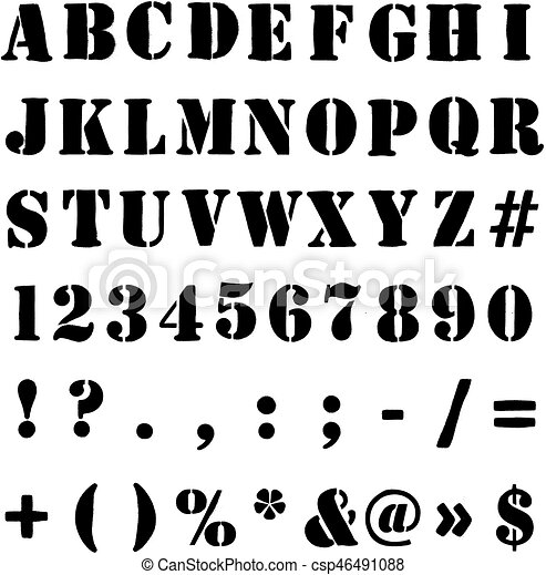 Army Or Crate Stencil Alphabet, Numbers And Symbols
