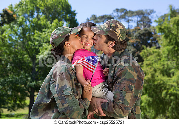 Army parents reunited with their daughter - csp25525721