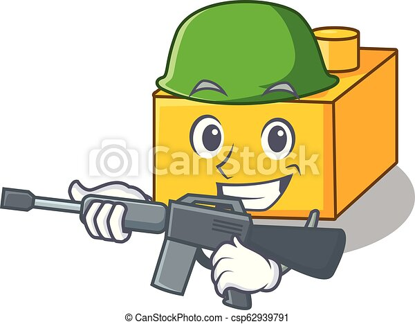 Army plastic building blocks cartoon on toy - csp62939791