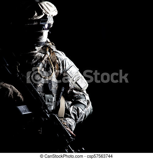 Army ranger high contract portrait on black - csp57563744