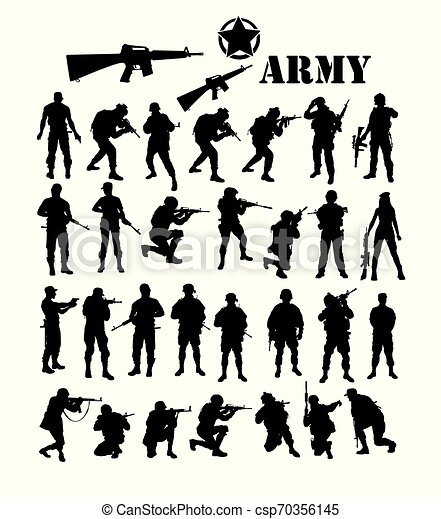 army silhouettes art vector design https www canstockphoto com army silhouettes 70356145 html