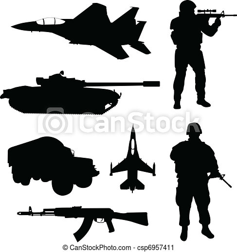 Army silhouettes - csp6957411