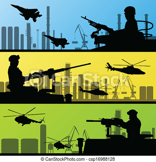 Army soldiers, planes, helicopters and guns background - csp16988128