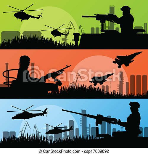 Army soldiers, planes, helicopters, guns and transportation in urban industrial factory landscape background illustration vector - csp17009892
