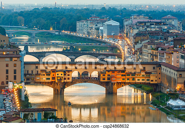 Arno River and bridges Ponte Vecchio - csp24868632