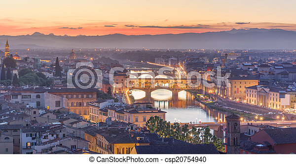 Arno River and Ponte Vecchio at sunset, Florence - csp20754940