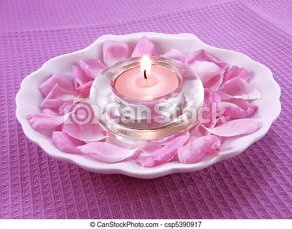 Aroma candle and petals of rose  - csp5390917