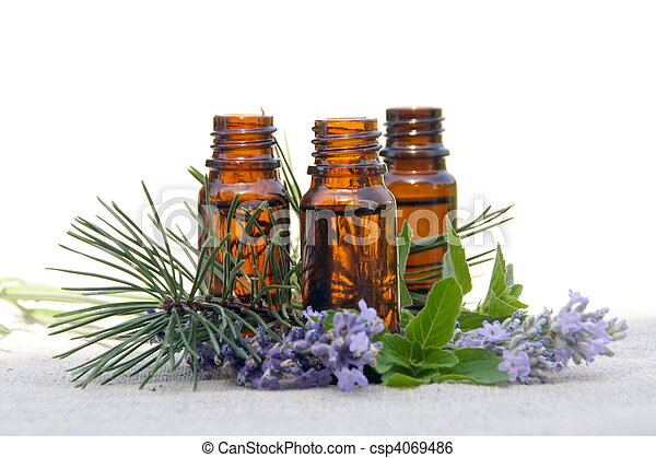Aroma Oil in Bottles with Lavender, Pine and Mint - csp4069486