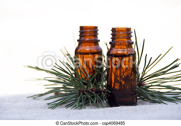 Aroma Oil in Bottles with Pine - csp4069485