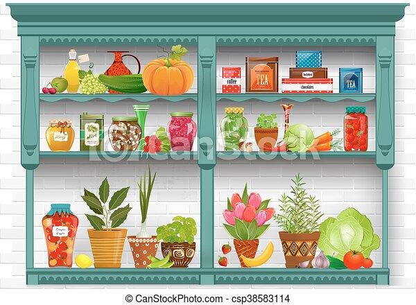 aromate, étagères, poterie, frais, pots., planté, produire, pré - csp38583114