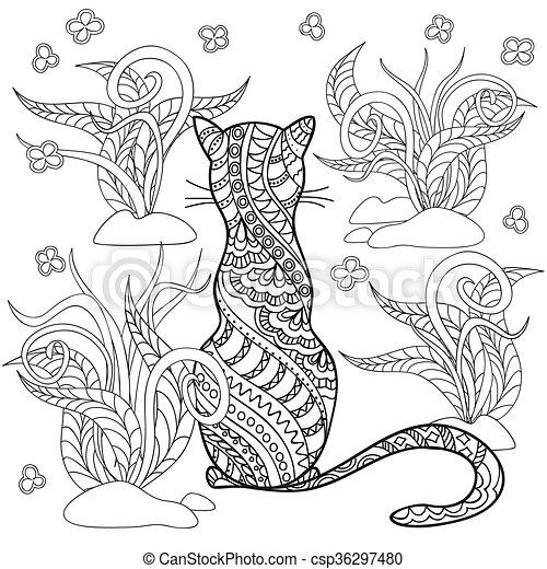 aromate, main, dessiné, décoré, chat, dessin animé - csp36297480