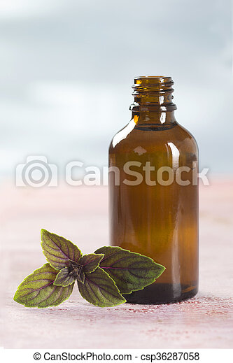 Aromatherapy - Basil essential oil bottle  - csp36287058