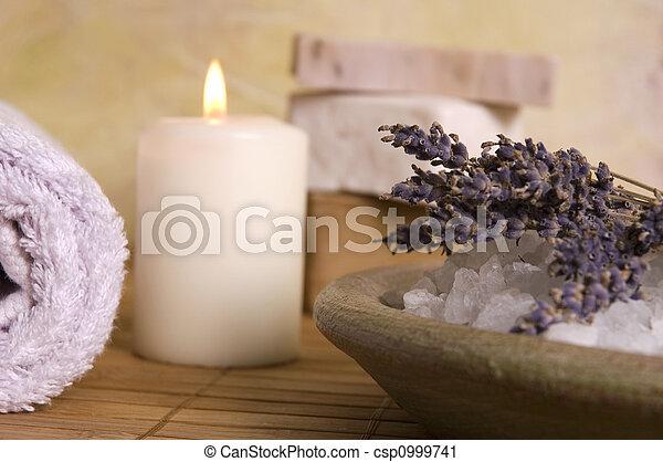 aromatherapy, items., lavendel, bad - csp0999741