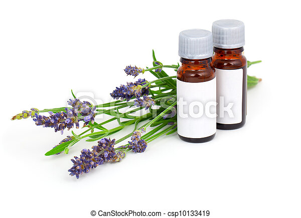 Aromatherapy Lavender oil and lavender flower, isolated on white background - csp10133419