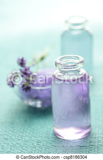 Aromatherapy oil and lavender - csp8186304