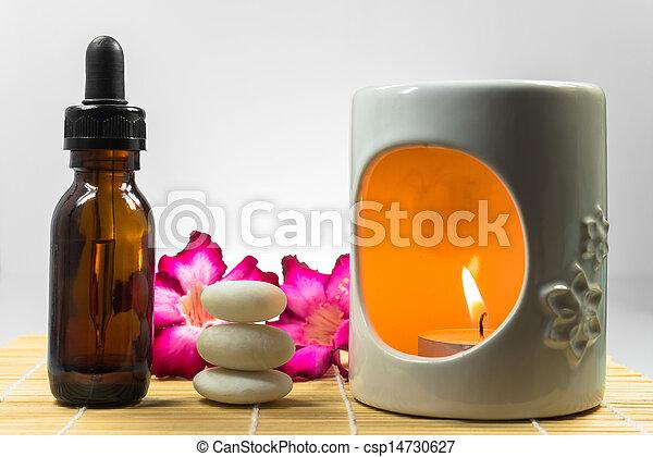 aromatherapy, steen, olie, zen - csp14730627