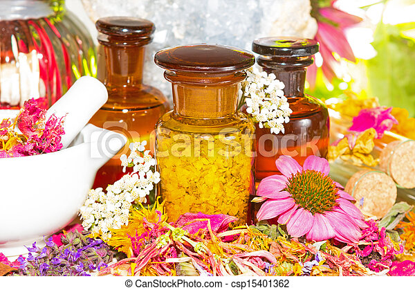 Aromatherapy still life with fresh flowers - csp15401362