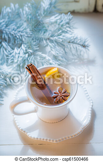 Aromatic and hot tea with cinnamon for Christmas - csp61500466