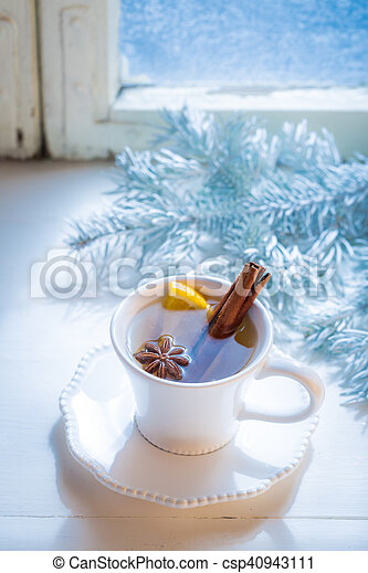 Aromatic and sweet tea with orange for Christmas - csp40943111