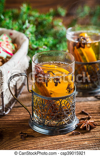 Aromatic tea and gingerbread for Christmas - csp39015921