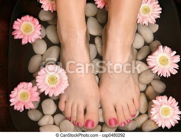 aromatico, pedispa, bagno, rilassante, piede - csp0480292