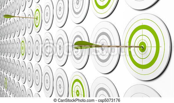 Dos flechas golpeando el centro de los blancos verdes. Hay algunos objetivos grises alrededor. Esta es una imagen 3D con perspectiva - csp5073176