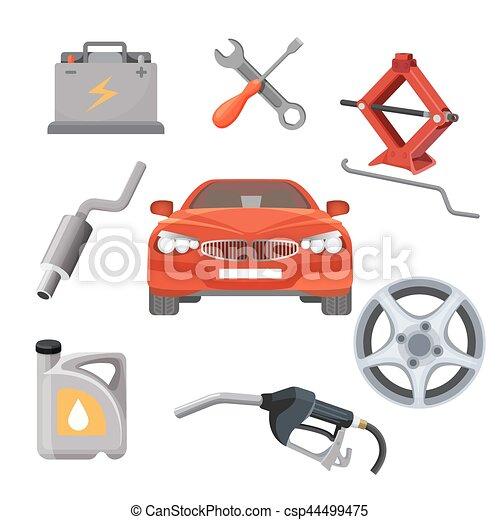 Servicio de auto. Automóvil rojo y equipo de trabajo alrededor. Vector - csp44499475