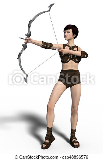 arqueiro, isolado, femininas - csp48836576