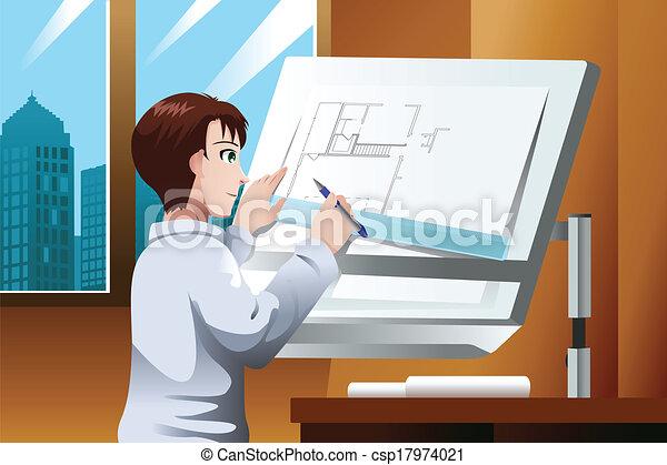 Arquitecto trabajando en la oficina - csp17974021